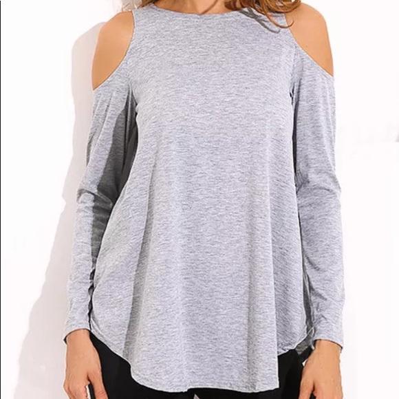22cd48a017a44 Sale🔥Comfy Stylish Grey Cold Shoulder Top